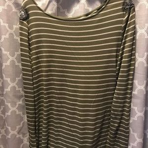 Olive Green striped top with rhinestones